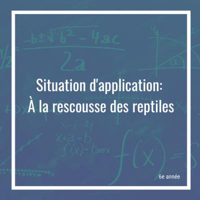 Situation d'application: À la rescousse des reptiles - 6e année | Math à distance