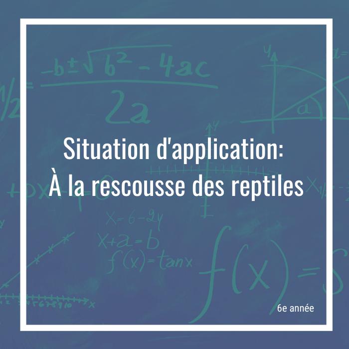 Situation d'application: à la rescousse des reptiles