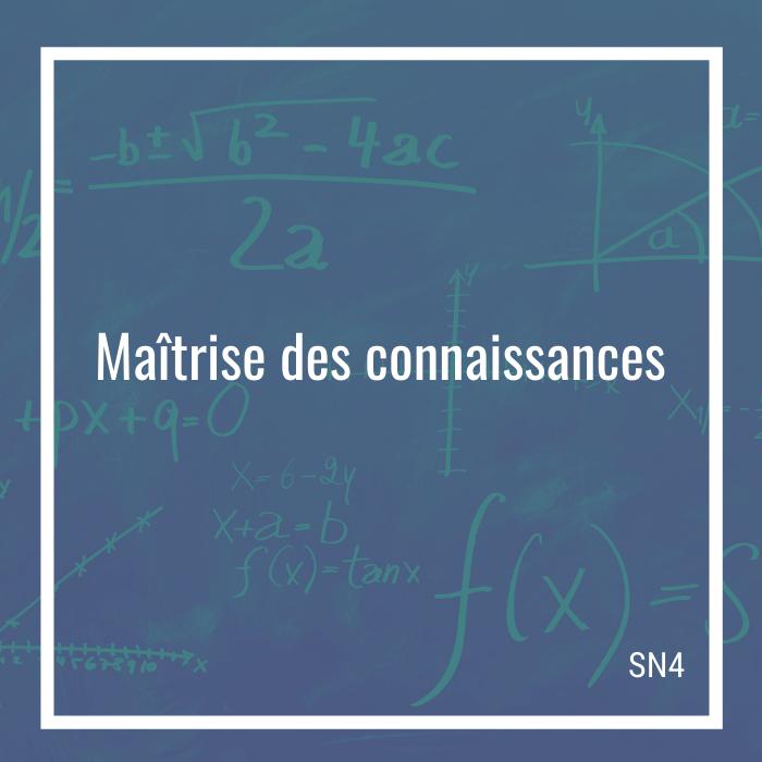 Maîtrise des connaissances: 40 questions - SN4 | Math à distance